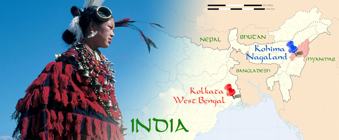 Where Nagaland is in relation to the rest of India and Surrounding Countries